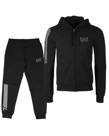 EA7 Emporio Armani Mens Black Reflective Logo Full Zip Tracksuit