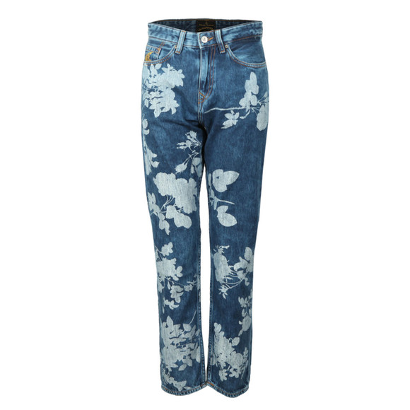 Vivienne Westwood Anglomania Womens Blue Skytte Rose Pattern Jean