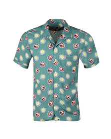 Pretty Green X Beatles Mens Green S/S Beatles Flower Faces Shirt