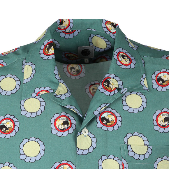 Pretty Green X Beatles Mens Green S/S Beatles Flower Faces Shirt main image
