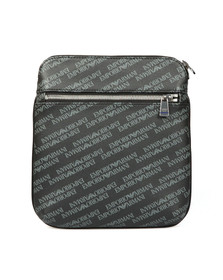 Emporio Armani Mens Black Allover Print Shoulder Bag