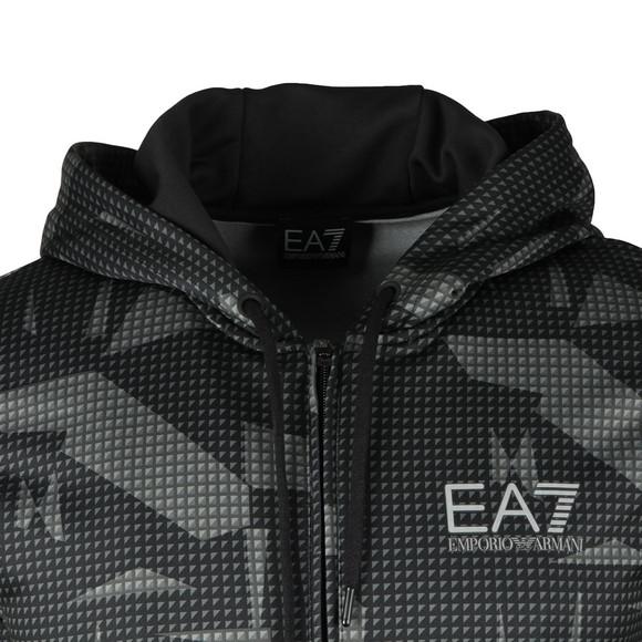 EA7 Emporio Armani Mens Black Allover Print Full Zip Hoody main image