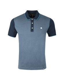 Pretty Green Mens Blue Contrast Panel Knitted Polo Shirt