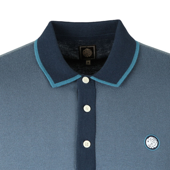 Pretty Green Mens Blue Contrast Panel Knitted Polo Shirt main image