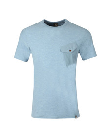 Pretty Green Mens Blue Slub Marl Twill Pocket Tee