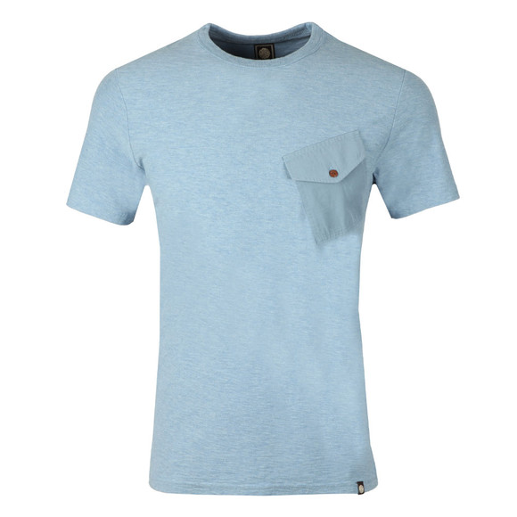 Pretty Green Mens Blue Slub Marl Twill Pocket Tee main image