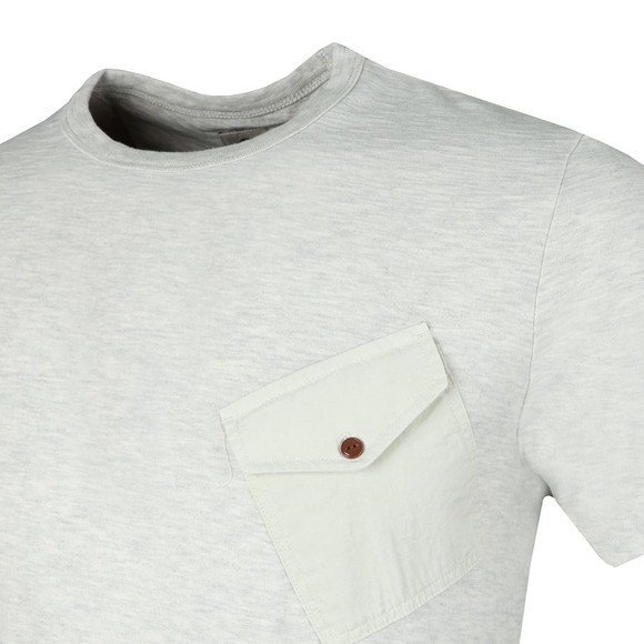 Pretty Green Mens Beige Slub Marl Twill Pocket Tee main image