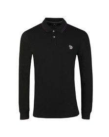 PS Paul Smith Mens Black L/S Tipped Polo Shirt