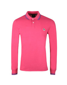 PS Paul Smith Mens Pink L/S Tipped Polo Shirt