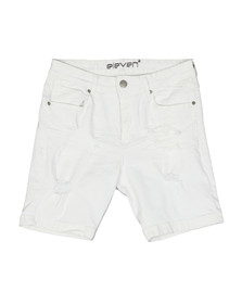 Eleven Degrees Mens White Rip And Repair Short