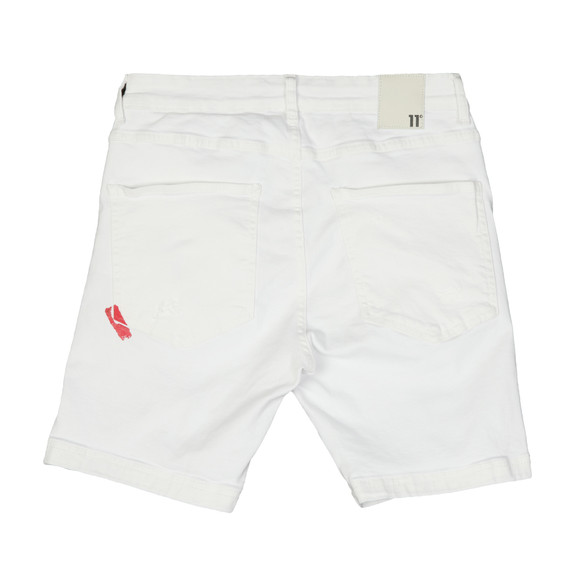 Eleven Degrees Mens White Rip & Repair Skinny Short main image