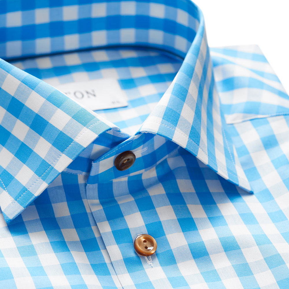 Slim Fit Check With Brown Buttons Shirt main image