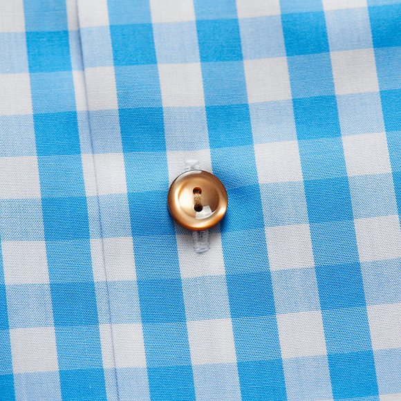 Eton Mens Blue Slim Fit Check With Brown Buttons Shirt main image
