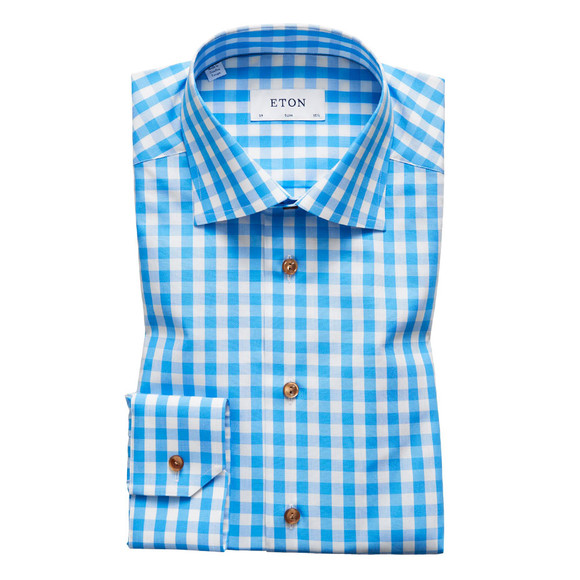 Eton Mens Blue Slim Fit Check With Brown Buttons Shirt