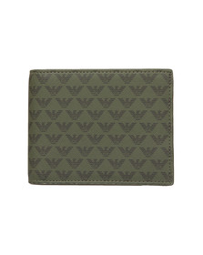 Emporio Armani Mens Green Leather & PVC Bifold Wallet
