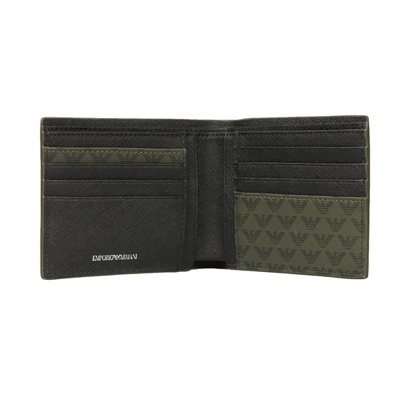 Emporio Armani Mens Green Leather & PVC Bifold Wallet main image