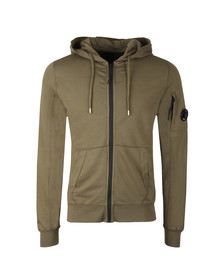 CP Company Mens Green Lightweight Full Zip Hoody