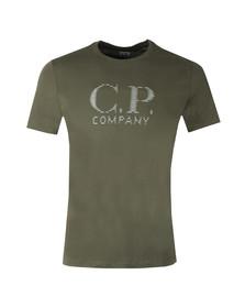 CP Company Mens Green Reflective Large Logo T Shirt