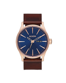 Nixon Unisex Rose Gold/navy/brown Nixon Sentry Leather