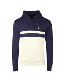 Lyle and Scott Mens Blue Yoke Stripe Pullover Hoodie