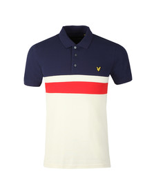 Lyle and Scott Mens Blue Yoke Stripe Polo Shirt