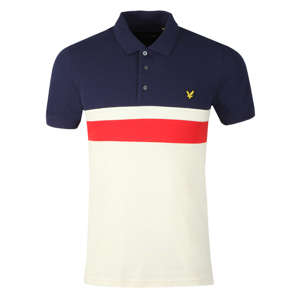 Lyle and Scott Mens Blue Yoke Stripe Polo Shirt main image