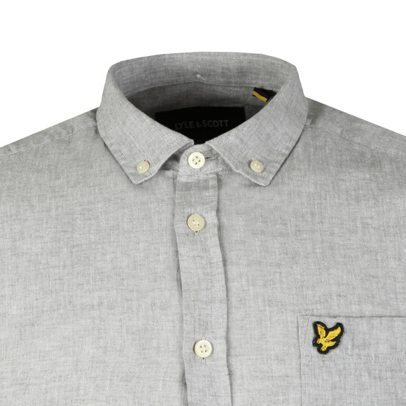 Lyle and Scott Mens Grey L/S Linen Shirt main image