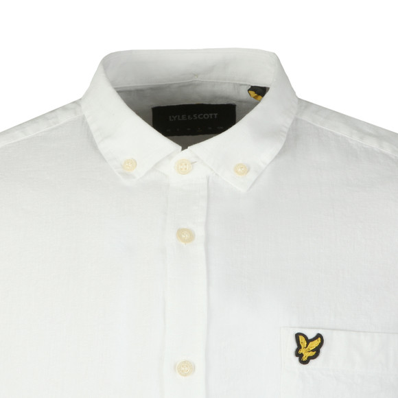 Lyle and Scott Mens White L/S Linen Shirt main image
