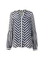 Bias Stripe Pleated Shirt