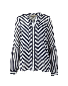 Michael Kors Womens Blue Bias Stripe Pleated Shirt