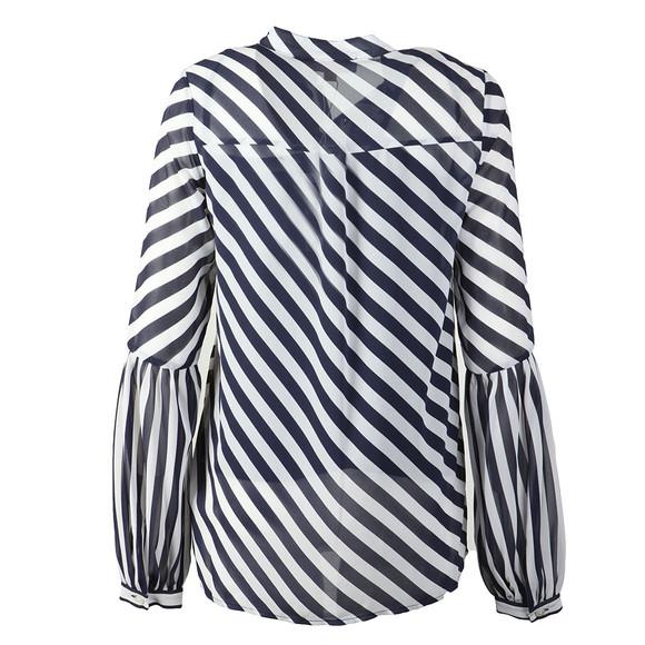 Michael Kors Womens Blue Bias Stripe Pleated Shirt main image