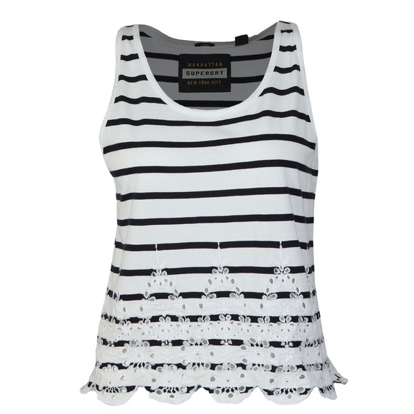 Superdry Womens White Pacific Broderie Stripe Tank main image