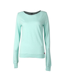 Superdry Womens Green Raw Edge Crew Top