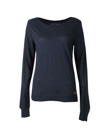 Superdry Womens Blue Raw Edge Crew Top
