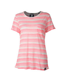 Superdry Womens Pink Multi Stripe Burnout T Shirt