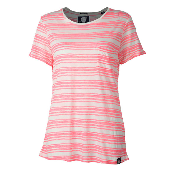 Superdry Womens Pink Multi Stripe Burnout T Shirt main image
