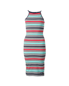 Superdry Womens Multicoloured Strappy Stripe Midi Dress