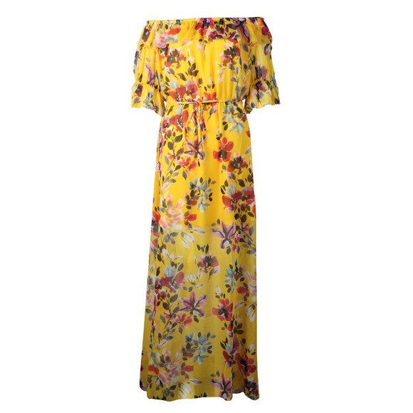 French Connection Womens Yellow Linosa Crinkle Off Shoulder Maxi Dress main image
