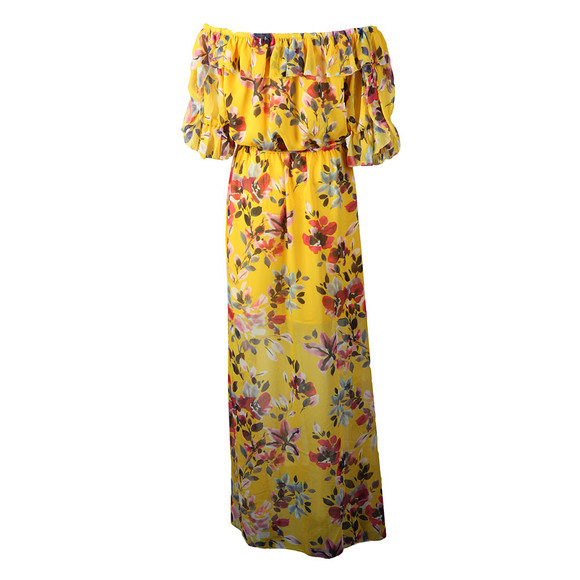 f619a0540a8 French Connection Womens Yellow Linosa Crinkle Off Shoulder Maxi Dress main  image