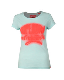Superdry Womens Blue MFG Glow Entry Tee