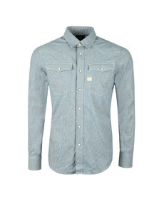 G-Star Mens Blue L/S Hicks Stripe Shirt