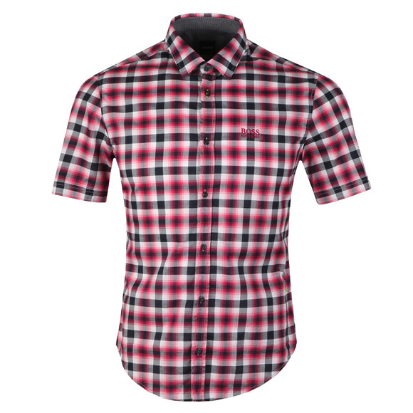 BOSS Mens Pink Athleisure Barn Check Shirt