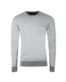 Luke Mens Blue Crew Neck Plated Knit