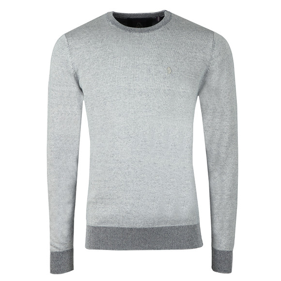 Luke Mens Blue Crew Neck Plated Knit main image
