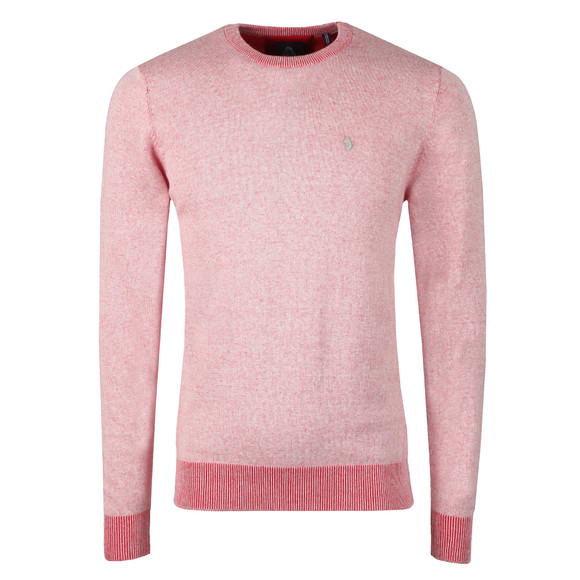 Luke Mens Red Crew Neck Plated Knit main image