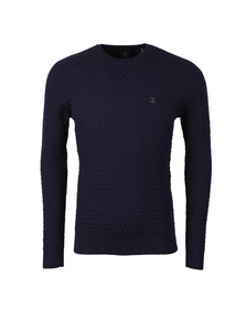 Luke Mens Blue Binary Computer Knit Jumper