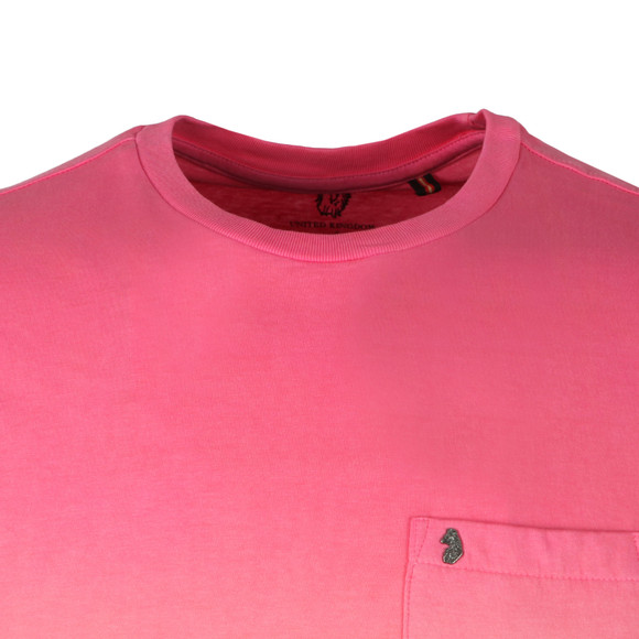 Luke Mens Pink Half Soaked Patch Pocket Tee main image