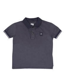 C.P. Company Undersixteen Boys Blue Contrast Collar Polo Shirt