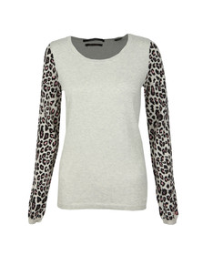 Maison Scotch Womens Grey Embroidered Detail Open Neck Pullover