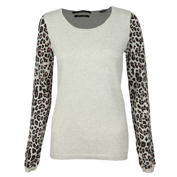 Maison Scotch Womens Grey Embroidered Detail Open Neck Pullover main image